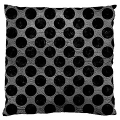 Circles2 Black Marble & Gray Leather (r) Large Flano Cushion Case (two Sides)