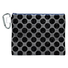 Circles2 Black Marble & Gray Leather (r) Canvas Cosmetic Bag (xxl)