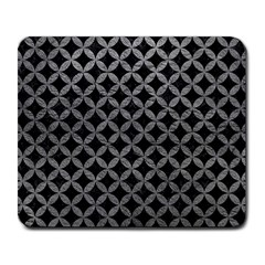 Circles3 Black Marble & Gray Leather Large Mousepads