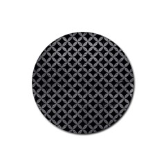 Circles3 Black Marble & Gray Leather Rubber Round Coaster (4 Pack)
