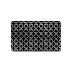 Circles3 Black Marble & Gray Leather Magnet (name Card)