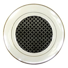 Circles3 Black Marble & Gray Leather Porcelain Plates