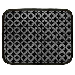 Circles3 Black Marble & Gray Leather Netbook Case (xxl)