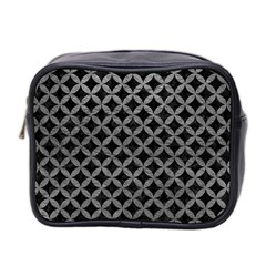 Circles3 Black Marble & Gray Leather Mini Toiletries Bag 2 Side