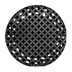 Circles3 Black Marble & Gray Leather Ornament (round Filigree)