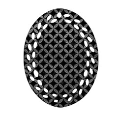 Circles3 Black Marble & Gray Leather Ornament (oval Filigree)