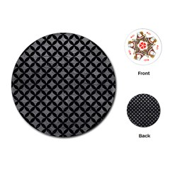 Circles3 Black Marble & Gray Leather (r) Playing Cards (round)