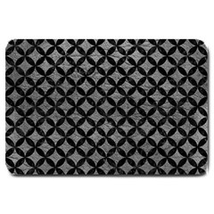 Circles3 Black Marble & Gray Leather (r) Large Doormat