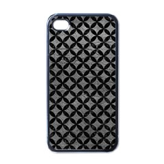Circles3 Black Marble & Gray Leather (r) Apple Iphone 4 Case (black)
