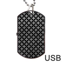 Circles3 Black Marble & Gray Leather (r) Dog Tag Usb Flash (one Side)