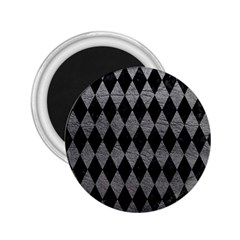 Diamond1 Black Marble & Gray Leather 2 25  Magnets