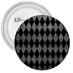 Diamond1 Black Marble & Gray Leather 3  Buttons