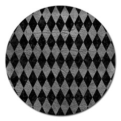Diamond1 Black Marble & Gray Leather Magnet 5  (round)
