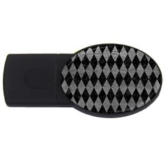 Diamond1 Black Marble & Gray Leather Usb Flash Drive Oval (4 Gb)
