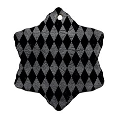Diamond1 Black Marble & Gray Leather Snowflake Ornament (two Sides)