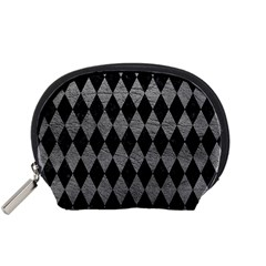 Diamond1 Black Marble & Gray Leather Accessory Pouches (small)
