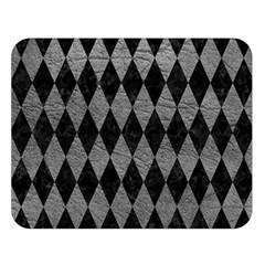 Diamond1 Black Marble & Gray Leather Double Sided Flano Blanket (large)
