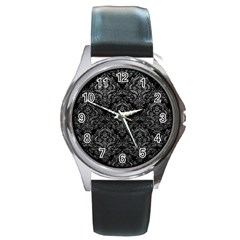 Damask1 Black Marble & Gray Leather Round Metal Watch