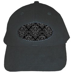 Damask1 Black Marble & Gray Leather Black Cap