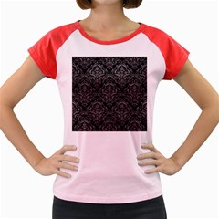 Damask1 Black Marble & Gray Leather Women s Cap Sleeve T Shirt
