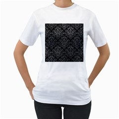 Damask1 Black Marble & Gray Leather Women s T Shirt (white) (two Sided)