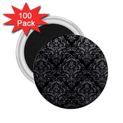 Damask1 Black Marble & Gray Leather 2 25  Magnets (100 Pack)
