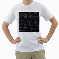 Damask1 Black Marble & Gray Leather Men s T Shirt (white) (two Sided)