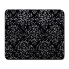 Damask1 Black Marble & Gray Leather Large Mousepads