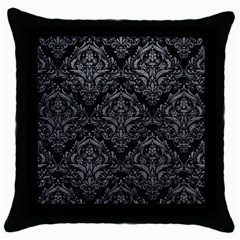 Damask1 Black Marble & Gray Leather Throw Pillow Case (black)