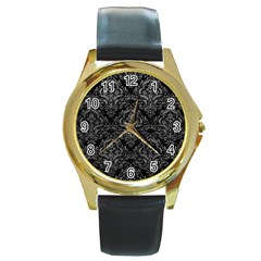 Damask1 Black Marble & Gray Leather Round Gold Metal Watch