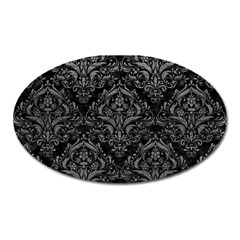 Damask1 Black Marble & Gray Leather Oval Magnet