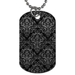 Damask1 Black Marble & Gray Leather Dog Tag (one Side)