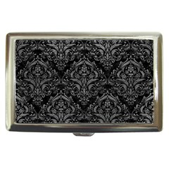 Damask1 Black Marble & Gray Leather Cigarette Money Cases