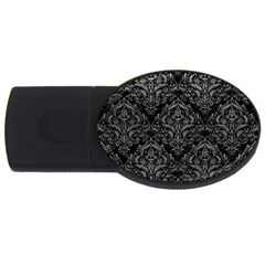Damask1 Black Marble & Gray Leather Usb Flash Drive Oval (2 Gb)