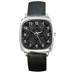 Damask1 Black Marble & Gray Leather Square Metal Watch