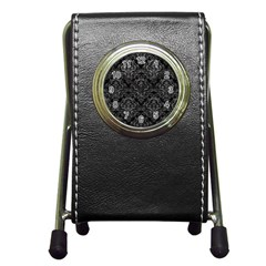 Damask1 Black Marble & Gray Leather Pen Holder Desk Clocks