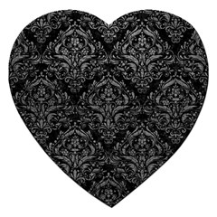 Damask1 Black Marble & Gray Leather Jigsaw Puzzle (heart)