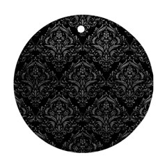 Damask1 Black Marble & Gray Leather Round Ornament (two Sides)