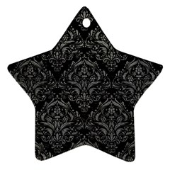 Damask1 Black Marble & Gray Leather Star Ornament (two Sides)