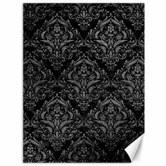 Damask1 Black Marble & Gray Leather Canvas 36  X 48