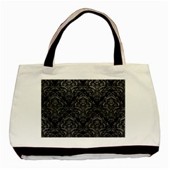 Damask1 Black Marble & Gray Leather Basic Tote Bag (two Sides)