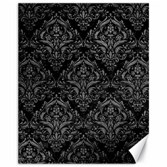 Damask1 Black Marble & Gray Leather Canvas 11  X 14