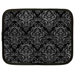 Damask1 Black Marble & Gray Leather Netbook Case (large)