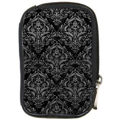 Damask1 Black Marble & Gray Leather Compact Camera Cases