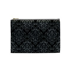 Damask1 Black Marble & Gray Leather Cosmetic Bag (medium)