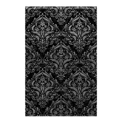 Damask1 Black Marble & Gray Leather Shower Curtain 48  X 72  (small)