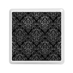 Damask1 Black Marble & Gray Leather Memory Card Reader (square)