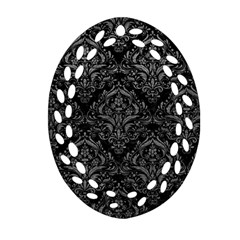 Damask1 Black Marble & Gray Leather Oval Filigree Ornament (two Sides)