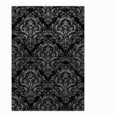 Damask1 Black Marble & Gray Leather Small Garden Flag (two Sides)