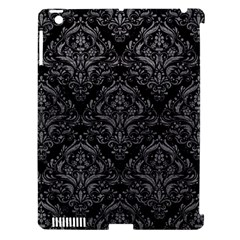 Damask1 Black Marble & Gray Leather Apple Ipad 3/4 Hardshell Case (compatible With Smart Cover)